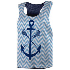 Girls Lacrosse Racerback Pinnie - Lacrosse Sticks Anchor with Chevron