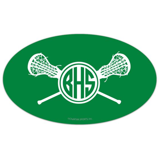Girls Lacrosse Oval Car Magnet Monogram