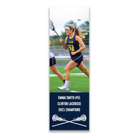 "Girls Lacrosse 12.5"" X 4"" Removable Wall Tile - Personalized Photo"
