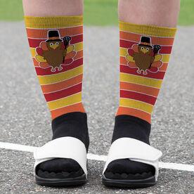 Girls Lacrosse Printed Mid-Calf Socks - Turkey with Stripes