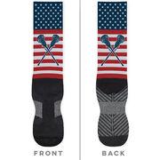 Girls Lacrosse Printed Mid-Calf Socks - USA Stars and Stripes