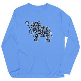 Girls Lacrosse Long Sleeve Performance Tee - Lax Elephant