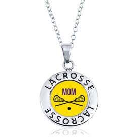 Lacrosse Circle Necklace - Crossed Sticks With Mom