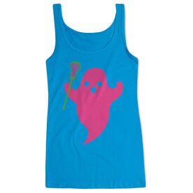 Girls Lacrosse Women's Athletic Tank Top - Pink Ghost with lacrosse Stick