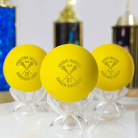 Personalized Engraved Lacrosse Ball Custom Team Info with Crossed Sticks (Yellow Ball)