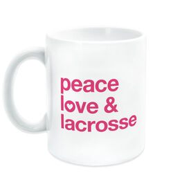 Girls Lacrosse Coffee Mug - Peace Love & Lacrosse