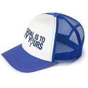 Girls Lacrosse Trucker Hat - My Goal Is To Deny Yours Goalie Stick