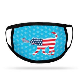Girls Lacrosse Adult Face Mask - Patriotic LuLa the Lax Dog