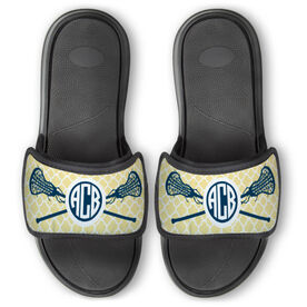Girls Lacrosse Repwell™ Slide Sandals - Personalized Monogram Sticks with Quatrefoil Pattern