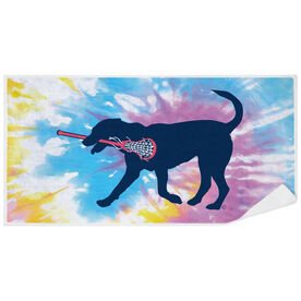Girls Lacrosse Premium Beach Towel - LuLa the Lax Dog Tie-Dye