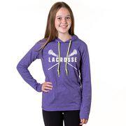 Girls Lacrosse Lightweight Hoodie - Lacrosse Crossed Girl Sticks