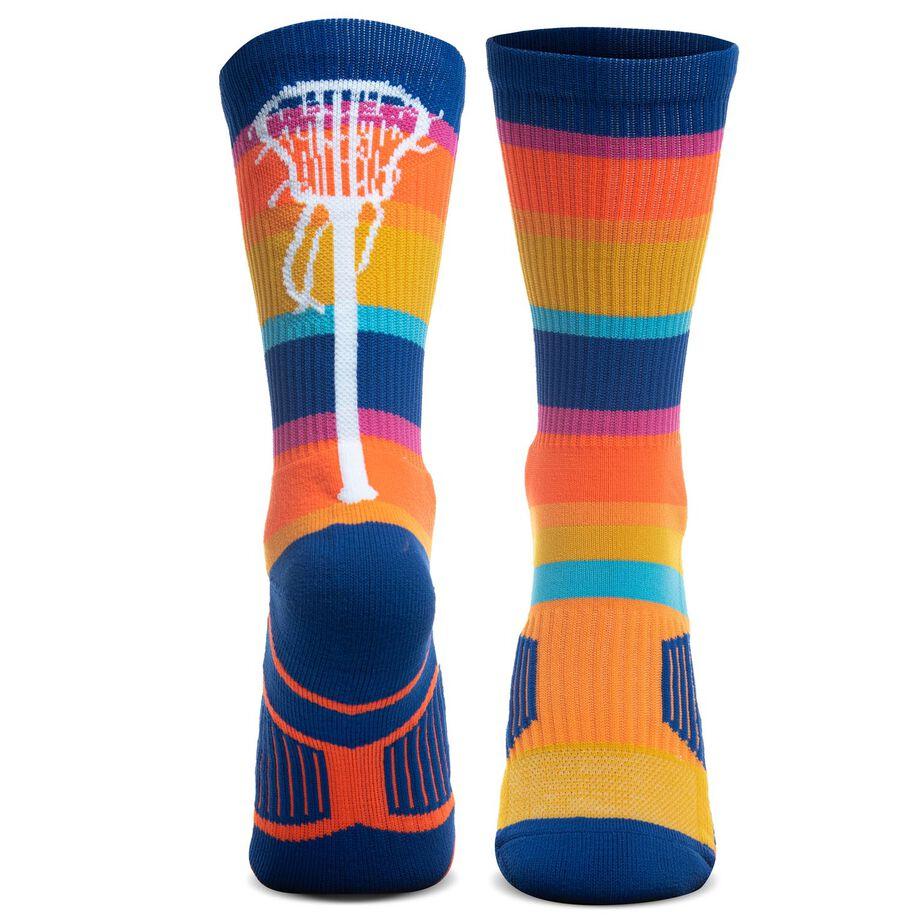 Girls Lacrosse Woven Mid-Calf Socks - Sunset Stick