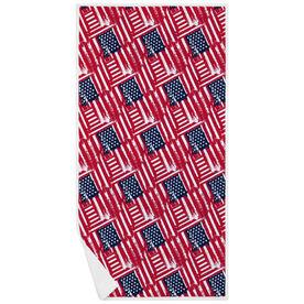 Premium Beach Towel - USA Flag Sketch