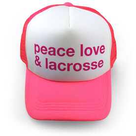 Girls Lacrosse Trucker Hat - Peace Love & Lacrosse