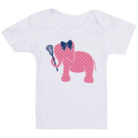 Girls Lacrosse Baby T-Shirt - Lax Elephant with Bow