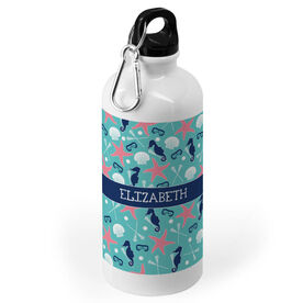 Girls Lacrosse 20 oz. Stainless Steel Water Bottle - Personalized Sea Star and Shells