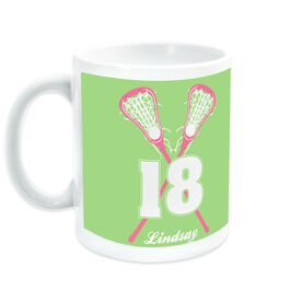 Girls Lacrosse Coffee Mug Personalized Crossed Girl Sticks with Big Number
