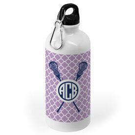 Girls Lacrosse 20 oz. Stainless Steel Water Bottle - Personalized Monogram Lacrosse Sticks With Quatrefoil Pattern