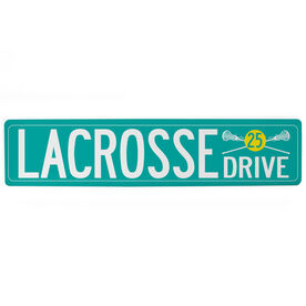"""Girls Lacrosse Aluminum Room Sign - Lacrosse Drive With Number (4""""x18"""")"""