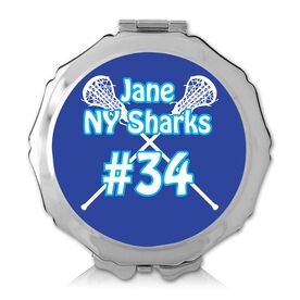 Personalized Lacrosse Crossed Sticks Color Compact Mirror