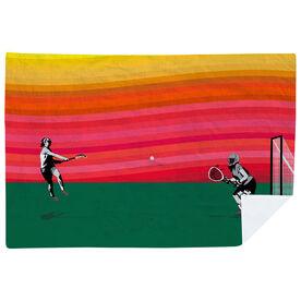 Girls Lacrosse Premium Blanket - She Goes for the Goal Sunset