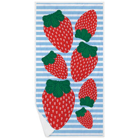 Girls Lacrosse Premium Beach Towel - Lax Strawberries