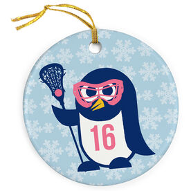 Girls Lacrosse Porcelain Ornament Lax Penguin
