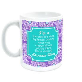 Girls Lacrosse Ceramic Mug Mom Poem With 'Fleur De' Pattern