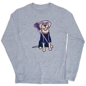 Girls Lacrosse Tshirt Long Sleeve - Lily The Lacrosse Dog