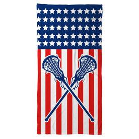 Girls Lacrosse Beach Towel USA Lax Girl