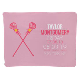 Girls Lacrosse Baby Blanket - Birth Announcement