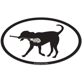 Max The Lax Dog Oval Car Magnet (Black)
