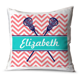 Girls Lacrosse Throw Pillow Personalized Girl Lacrosse Sticks Chevron
