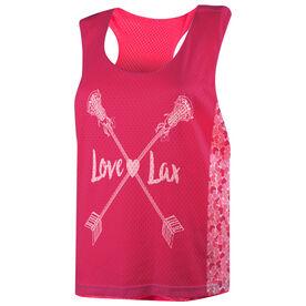Girls Lacrosse Racerback Pinnie - Love Lax Crossed Arrows