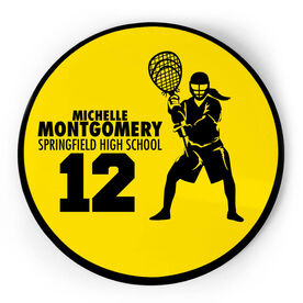 Girls Lacrosse Circle Plaque - Goalie With Text