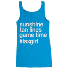 Girls Lacrosse Women's Athletic Tank Top - Sunshine Tan Lines Game Time