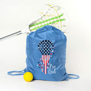 Girls Lacrosse Sport Pack Cinch Sack - Patriotic Lax Girl