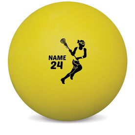 Personalized Printed Lacrosse Ball Girls Lacrosse Player Silhouette (Yellow Ball)