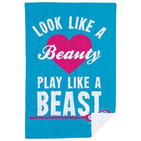 Girls Lacrosse Premium Blanket - Look Like A Beauty Play Like A Beast