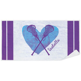 Girls Lacrosse Premium Beach Towel - Watercolor Heart