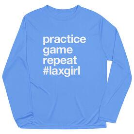 Girls Lacrosse Long Sleeve Performance Tee - Practice Game Repeat