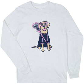 Girls Lacrosse Long Sleeve T-Shirt - Lily The Lacrosse Dog