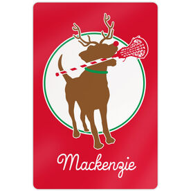 "Girls Lacrosse 18"" X 12"" Aluminum Room Sign - Jingles The Reindeer Lax Dog"
