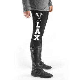 Girls Lacrosse High Print Leggings - Lax with Crossed Sticks