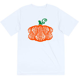 Girls Lacrosse Short Sleeve Performance Tee - Lax Stick Pumpkin
