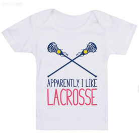 Girls Lacrosse Baby T-Shirt - I'm Told I Like Lacrosse