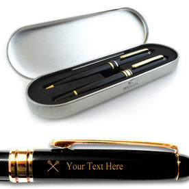 Engraved Lacrosse Black Roller Pen and Ball Point Pen Set