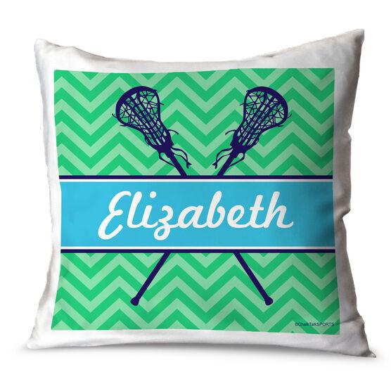 Girls Lacrosse Throw Pillow Personalized Girl Lacrosse Sticks Chevron