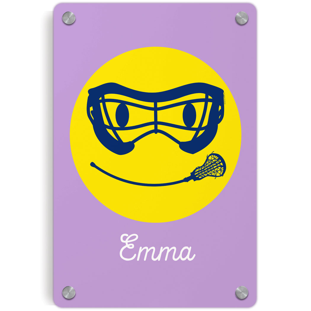 Girls Lacrosse Metal Wall Art Panel - Smiley Face   LuLaLax