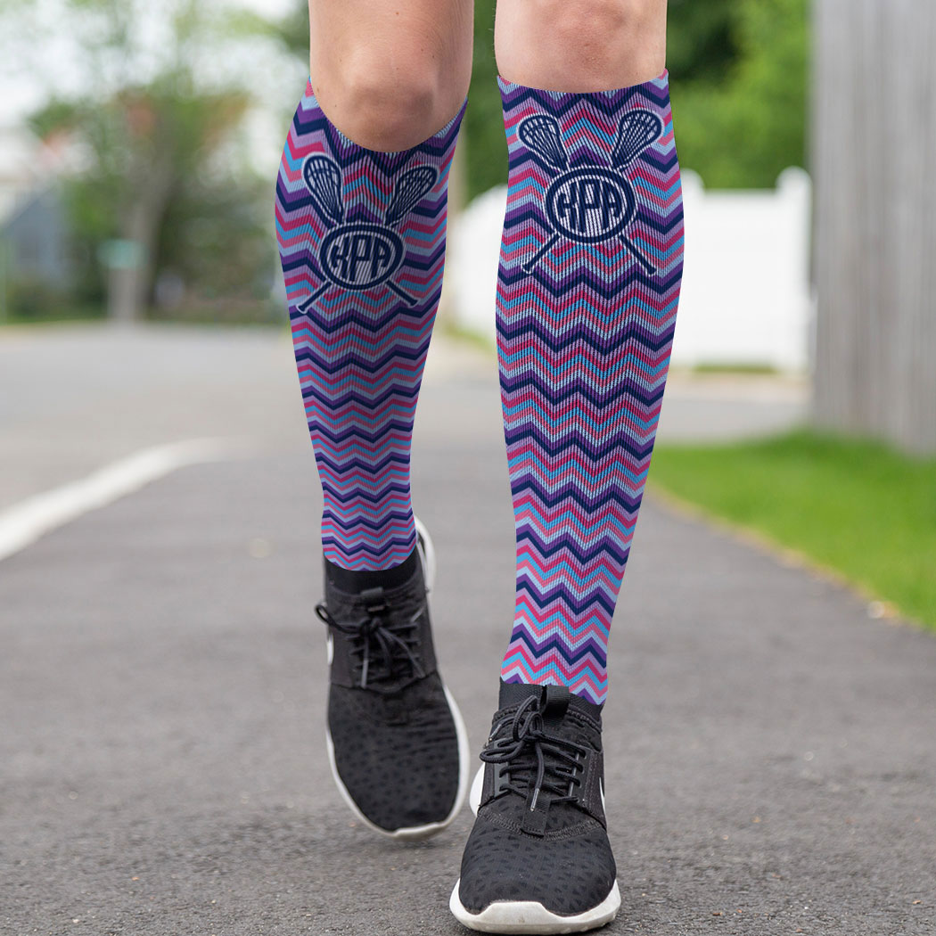 5bbdb8d75 ... Girls Lacrosse Printed Knee-High Socks - Monogram with Chevron ...